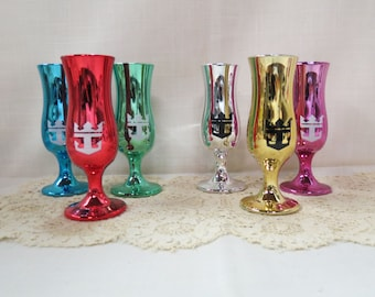 Sale Vintage Liquor Loving Cup Aperitif Crown And Anchor Society Souvenirs Anodized Glass Royal Caribbean Cruise