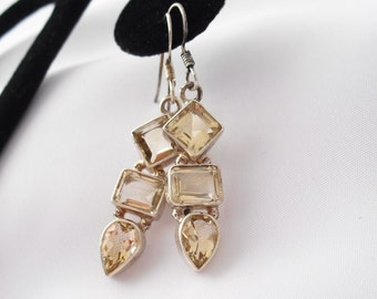 Citrine Earrings, Sterling Silver 925, Contemporary Style French Hooks Gemstone Jewelry
