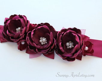 Wine Burgundy Sash/ Bridal Wedding Ribbon Sash/ Handmade Accessory