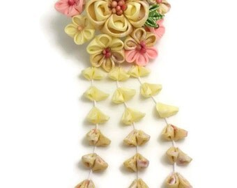 Multicolored Flower Kanzashi Hair Stick/ Japanese Hair Pin/ Upcycled Kimono/ Fabric Flower/ Bridal Kimono/ Cosplay Kimono/ OOAK