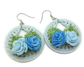 Blue Crochet Hoop Earrings, Blue Camellia Earrings, Blue Crochet Flowers, Country Chic Jewelry, Shabby Chic Camellia Earrings, Fast Delivery