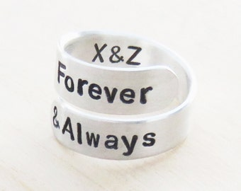 Forever and always ring - Couple promise ring - Commitment ring - Relationship ring - Valentine's Day gift