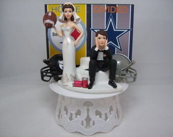 HOUSE DIVIDED with Helmets: Steelers vs. Cowboys Football Team RIVALRY Bride and Groom Funny Wedding Cake Topper