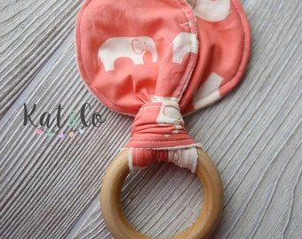 Coral elephant Organic bunny ear teether ring toy with crinkle material.  Ready to ship.