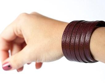 Leather Bracelet / Original Sliced Cuff / Cherry Cobbler