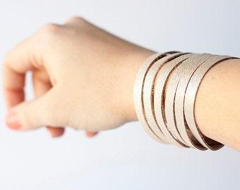 Leather Bracelet / Original Sliced Cuff / Champagne