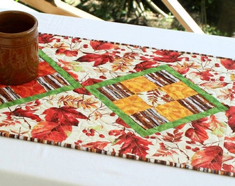 Fall Table Runner, Quilted Autumn Table Topper, Orange Red Table Runner, Autumn Leaves, Table Quilt, Quiltsy Handmade