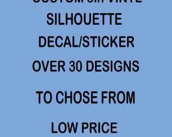 "Custom Silhouette Decal/Sticker Vinyl Your Choice 5"" Size  set 1"