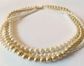 Gold Bridal Necklace Ivory And Gold Wedding Gold Pearl Bridal Necklace Gold Wedding Jewelry Chunky Gold Necklace Champagne Wedding Necklace
