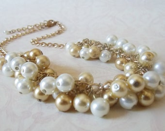Gold Wedding Necklace Chunky Pearl Necklace Gold Bridal Jewelry Pearl Cluster Necklace Dangling Pearls Necklace Ivory Gold Wedding Jewelry