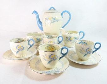 SALE! Art Deco Grindley Lilac Blue Cream Petal 11 pce Part Demitasse Coffee Set 1930s