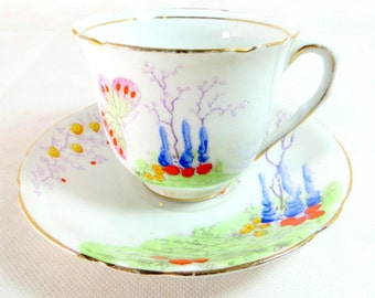 SALE! Art Deco Duo, Melba Bone China Handpainted Fantasy Butterfly Garden Cup and Saucer 1948-1951