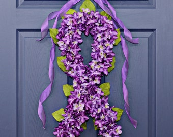 Epilepsy Awareness Wreath  , Domestic Violence Awareness , Color Purple Hydrangea Wreath , Support , Faith, Hope ,Wreaths , Wreath For Doors