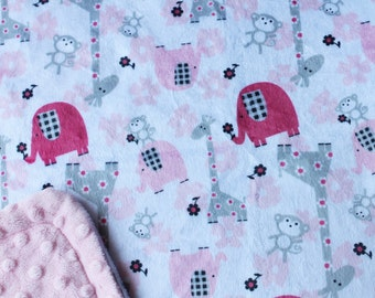 Minky Blanket Jungle Print Minky with Pink Dimple Dot Minky Backing Blanket - beautiful unique gift