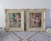Vintage Ornate Framed Girl Ballerina Picture Set Mid Century Hollywood Regency Paris French Country Shabby Chic Bedroom Home Decor Gift Her