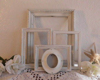 Off White Shabby Chic Oval Picture Frame Set Up Cycled Vintage Photo Decoration Rustic Distressed Beach Cottage Country Wedding Home Decor