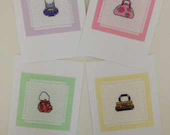 Cross Stitch Purse All-Occasion Greeting Cards Set of 4