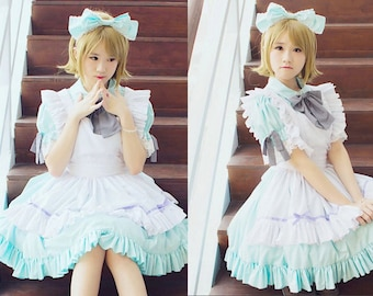 Custom in your color Alice in Wonderland Maid Dress - Handmade Turquoise Maid Dress And White Apron - Kawaii Turquoise Maid Costume