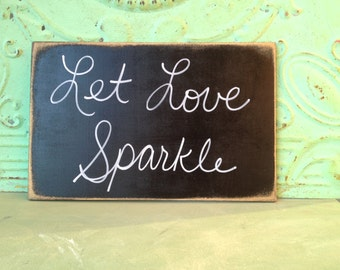 Black and White Let Love Sparkle Wedding Sign, Wooden Sparkler Send Off Sign, Black Wedding Signs