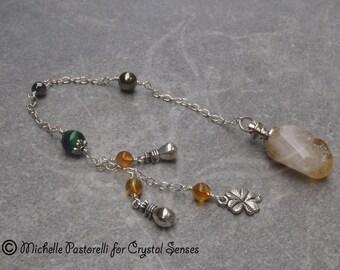 Abundance Citrine Gemstone Crystal Dowsing Pendulum (DP0225)