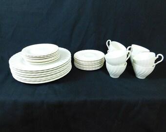 Vintage classic white English  ironstone china,swirl pattern , mixed lot, J&G Meakin, Sheffield, JB Johnson Bros 37 pieces
