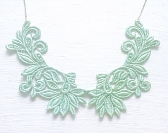 Mint Green Lace Statement Necklace