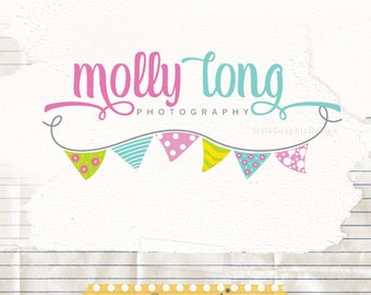 Cute bunting logo - Premade Logo Design - cute logo - logo branding - boutique logos - kids logo - party logo