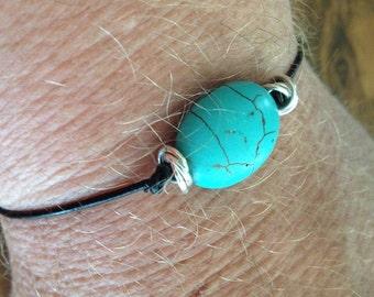 Men's AdjustableTurquoise Howlite and Black Greek Leather Bracelet