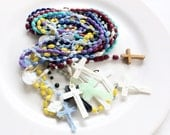 vintage rosary lot assorted colors religious necklaces with crosses 10 pieces lot C26