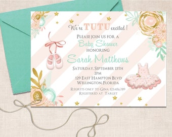 Tutu Cute Baby Shower Invitation - Ballerina Slippers Mint Gold Pink Printable Invite