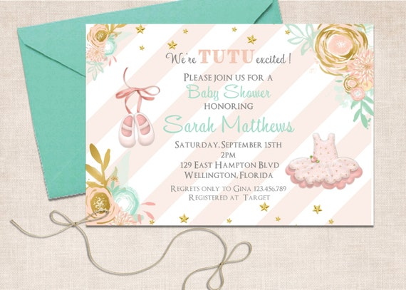 Tutu Cute Baby Shower Invitation - Ballerina Slippers Mint Gold Pink Printable Invite