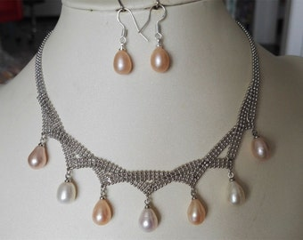 pearl set- pearl necklace, pink & white pearl necklace, pearl necklace earring set