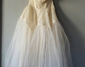Vintage 1950's Tulle and Lattice Body Work Bridal Teacup Gown, Size XS