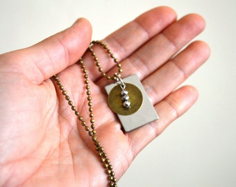 Tags necklace, Woman handmade jewelry, tags pendant, Unique woman necklace, metal jewelry, mirror necklace