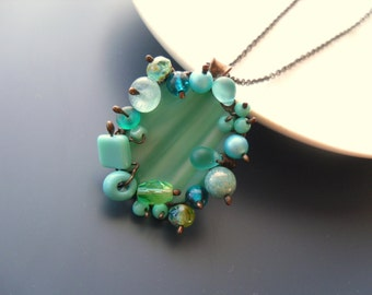 Statement necklace, bohemian jewelry, gift for women, birthday gift, artistic jewelry, stained glass necklace, turquoise,  Nest