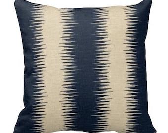 throw pillows, decorative pillows, ikat couch pillows, ikat pillow covers, ikat sofa pillows, blue pillows, blue ikat euro sham, sofa pillow