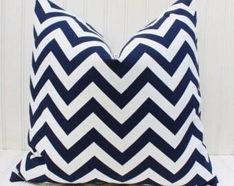 Blue Pillow, Navy Chevron Zig Zag Throw Pillow Cover, Accent Pillow, Blue White Cushion Cover