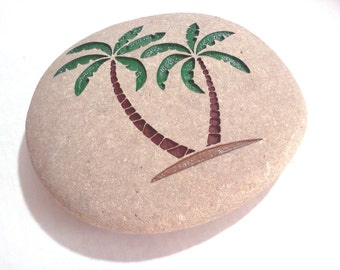 Palm Trees Engraved Stone