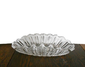 Vintage Dish Glass Cut Crystal Brilliant Design Starburst Cut Crystal Oval Design 1930s Candy Dish Sawtooth Edge
