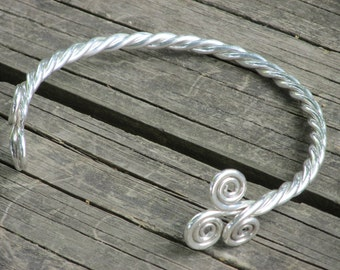 Celtic Jewelry - Handmade Celtic Torc Twisted With Forged Double Triskele In Solid Sterling Silver - Made To Order