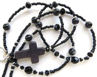 BLACK CROSS- Beaded ID Lanyard Badge Holder- Howlite Turquoise and Sparkling Crystals (Necklace Clasp)