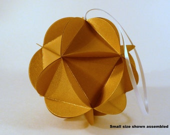 Gold Paper Globe Ornament, DIY kit, 3D Paper Ball, Gold Wedding decor, Geodesic sphere party decoration, DIY decor, party decor