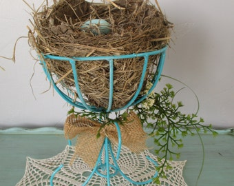Bird Nest Arrangement on a Re-Purposed Turquoise Stand Eggs Nest Home Decor Easter Fathers Day DIY Weddings Robin Egg Spring