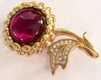 Vintage Gold Tone Cherry Brooch by Monet