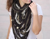EXPRESS SHIPPING to US, Canada! Chunky wool neck, unique winter accessories, brown colors big cowl, chain crochet scarf, faux fur wood beads