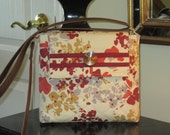 Burgundy, Orange, Gold and Gray Flowers on a Beige Background with Front Velcro Flap Closure Quilted Crossbody/Shoulder Bag