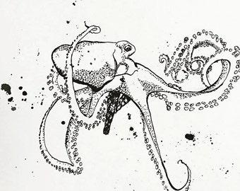 Octopus in Black - Ink Sketch, Ink Drawing, Pen and Ink, Black and White, Fine Art Print, Giclee, Original Art, Sea life, Ocean Ocotopus