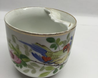 Mustache Cup Parrot with Pink Rose Antique