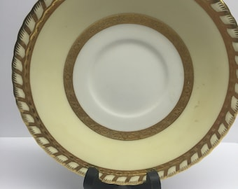 Minton China Saucer H4220 made for Ovington Brothers Antique Rope Edge Gold Encrusted Bands Cream Rim