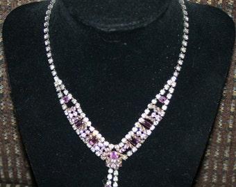 Vintage Necklace Diamond and Purple Rhinestones